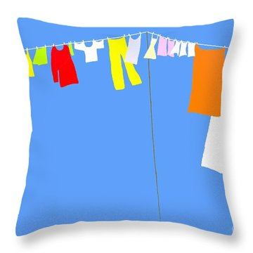 Throw Pillow featuring the digital art Washing Line Simplified Edition by Barbara Moignard