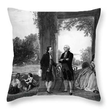 Washington And Lafayette, Mount Vernon Throw Pillow by Library of Congress