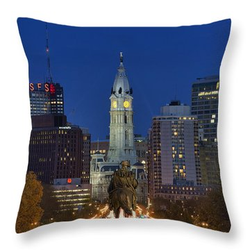 Washington Monument And City Hall Throw Pillow by John Greim