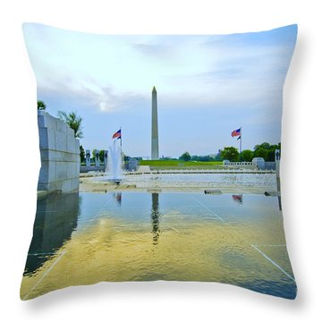 Throw Pillow featuring the photograph Washington Monument And The World War II Memorial by Jim Moore