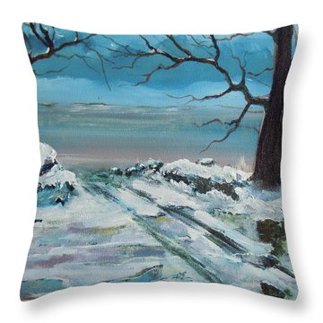 Throw Pillow featuring the painting Washoe Winter by Dan Whittemore