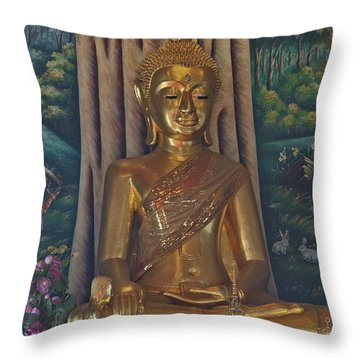 Wat Kaewjamfa Ubosot Principal Buddha Dthb1072 Throw Pillow