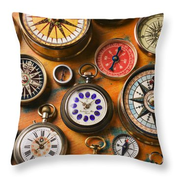 Watches And Compasses  Throw Pillow by Garry Gay