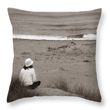 Watching The Ocean In Black And White Throw Pillow by Henrik Lehnerer
