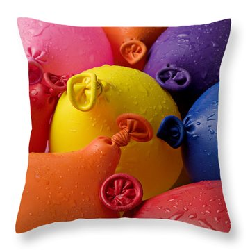 Water Balloons Throw Pillow by Garry Gay
