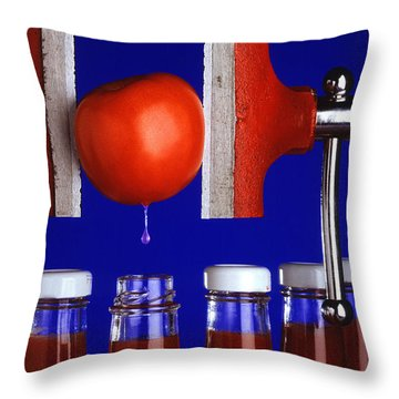 Water Extraction From Tomato Throw Pillow by Photo Researchers