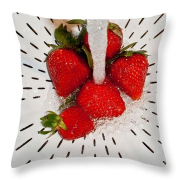 Throw Pillow featuring the photograph Water For Strawberries by David Pantuso