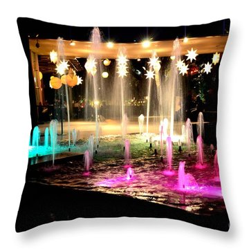 Water Fountain With Stars And Blue Green With Pink Lights Throw Pillow
