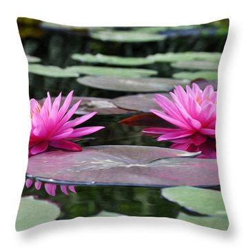 Water Lilies Throw Pillow by Bill Cannon