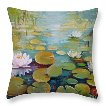 Water Lilies On The Pond Throw Pillow