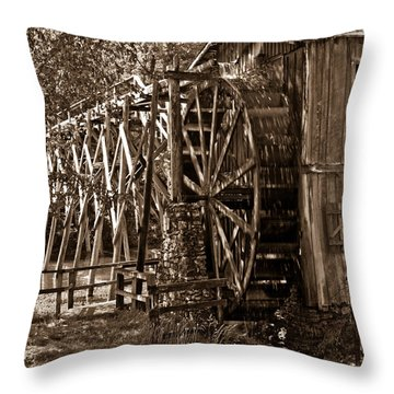 Water Mill In Action Throw Pillow by Douglas Barnett