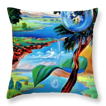 Water Planet Throw Pillow by Leomariano artist BRASIL
