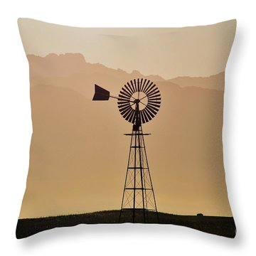 Throw Pillow featuring the photograph Water Pump Windmill by Werner Lehmann