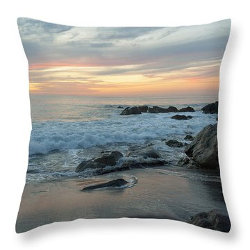 Water Washing Up On The Beach Throw Pillow by Keith Levit