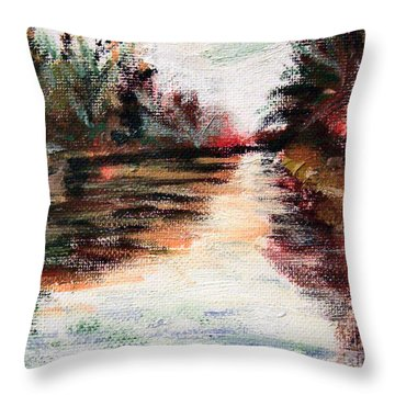 Water-way Oil Painting Throw Pillow