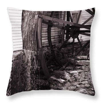 Water Wheel Old Mill Cherokee North Carolina  Throw Pillow by Susanne Van Hulst