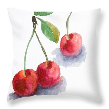 Watercolor Cherry  Throw Pillow