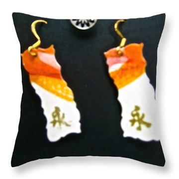 Watercolor Earrings Eternity Orange White Gold Throw Pillow by Beverley Harper Tinsley
