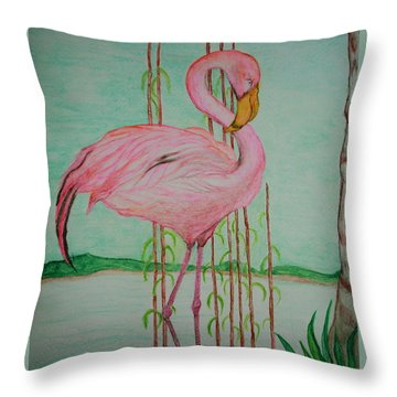 Watercolor Pencil Flamingo Throw Pillow