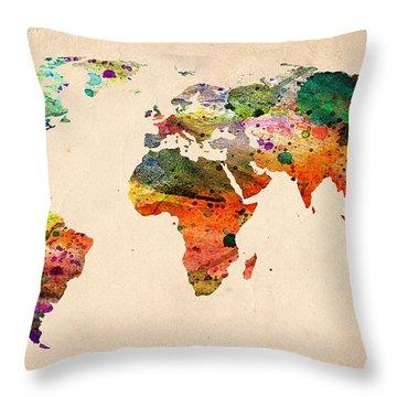 Watercolor World Map  Throw Pillow by Mark Ashkenazi