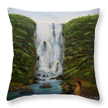Waterfall In Coorg India Throw Pillow