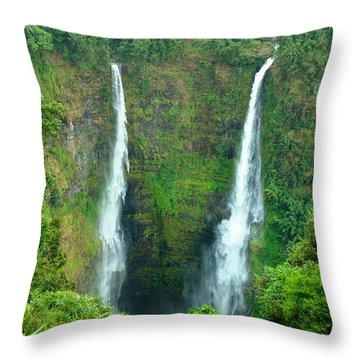 Throw Pillow featuring the photograph waterfall in Laos by Luciano Mortula