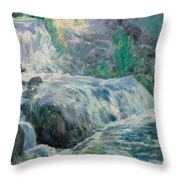 Waterfall Throw Pillow by John Henry Twachman