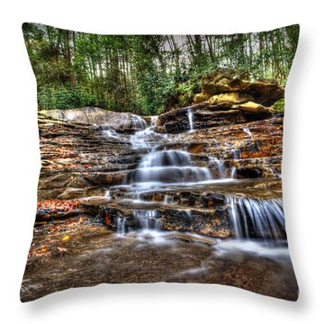 Waterfall On Small Creek Going Into The Big Sandy River Throw Pillow by Dan Friend