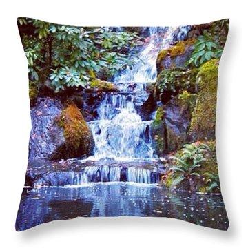 Waterfall - Portland Japanese Garden Portland Or Throw Pillow