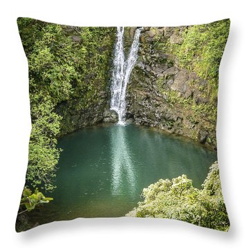Waterfall Reflections Throw Pillow by Debbie Karnes