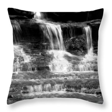 Waterfall Trio At Mcconnells Mill State Park In Black And White Throw Pillow