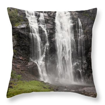 Waterfalls Over A Cliff Norway Throw Pillow by Keith Levit