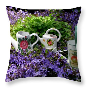 Watering Cans And Campanula Throw Pillow