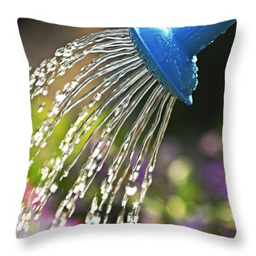 Watering Flowers Throw Pillow