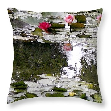Throw Pillow featuring the digital art Waterlilies by Victoria Harrington