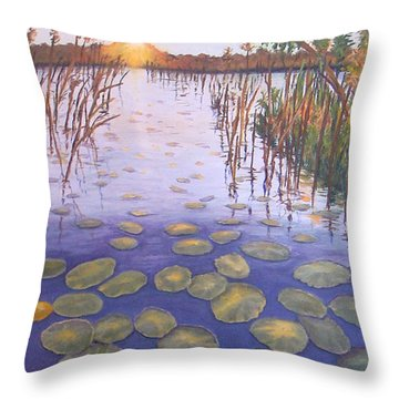 Throw Pillow featuring the painting Waterlillies South Africa by Karen Zuk Rosenblatt