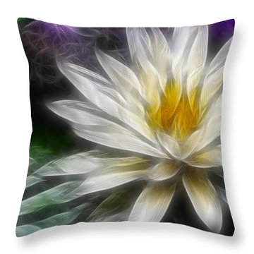 Waterlily In Pseudo-fractal Throw Pillow by Lynne Jenkins