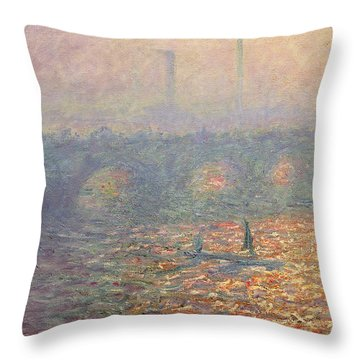 Waterloo Bridge Throw Pillow by Claude Monet