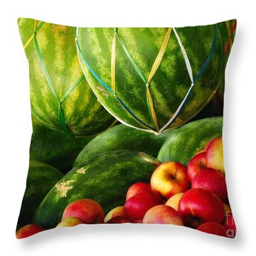 Watermellons And Apples Throw Pillow by Elaine Manley
