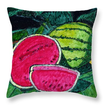 Watermelon Moonshine Throw Pillow by Phil Strang