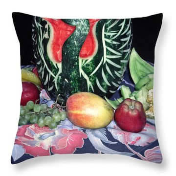 Watermelon Swan Throw Pillow by Sally Weigand