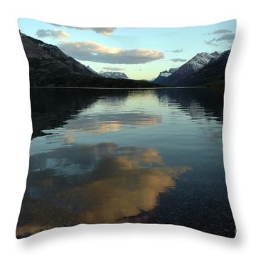 Waterton Lake Sunset Canada Throw Pillow by Vivian Christopher