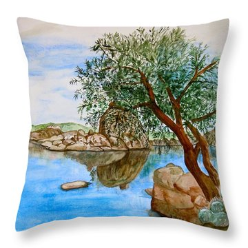 Watson Lake Prescott Arizona Peaceful Waters Throw Pillow by Sharon Mick