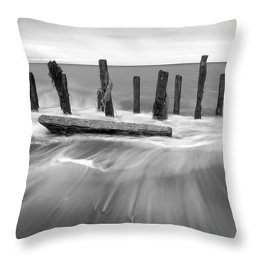 Wave In Black And White Throw Pillow by Svetlana Sewell