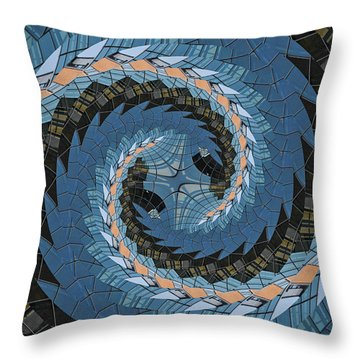 Wave Mosaic. Throw Pillow by Clare Bambers