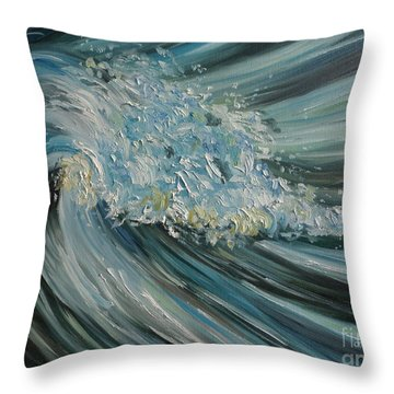 Throw Pillow featuring the painting Wave Whirl by Julie Brugh Riffey