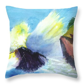 Waves 1 Throw Pillow by Anil Nene
