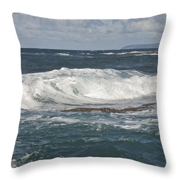 Waves Breaking 7952 Throw Pillow by Michael Peychich