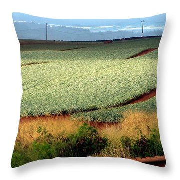 Waves Of Pineapple Throw Pillow by Karen Wiles
