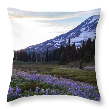 Waves Of Purple Throw Pillow by Mike Reid
